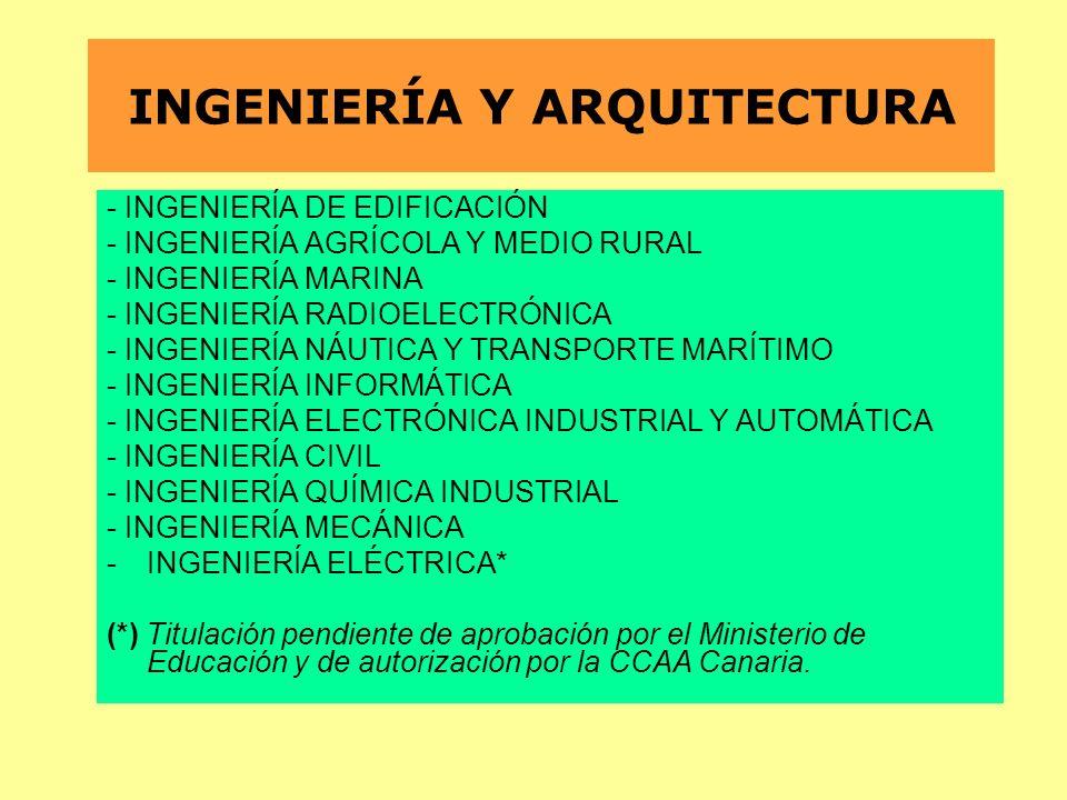 INGENIERÍA Y ARQUITECTURA - INGENIERÍA DE EDIFICACIÓN - INGENIERÍA AGRÍCOLA Y MEDIO RURAL - INGENIERÍA MARINA - INGENIERÍA RADIOELECTRÓNICA - INGENIER