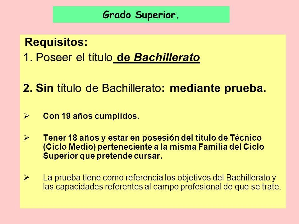 Grado Superior. Requisitos: 1. Poseer el título de Bachillerato 2. Sin título de Bachillerato: mediante prueba. Con 19 años cumplidos. Tener 18 años y