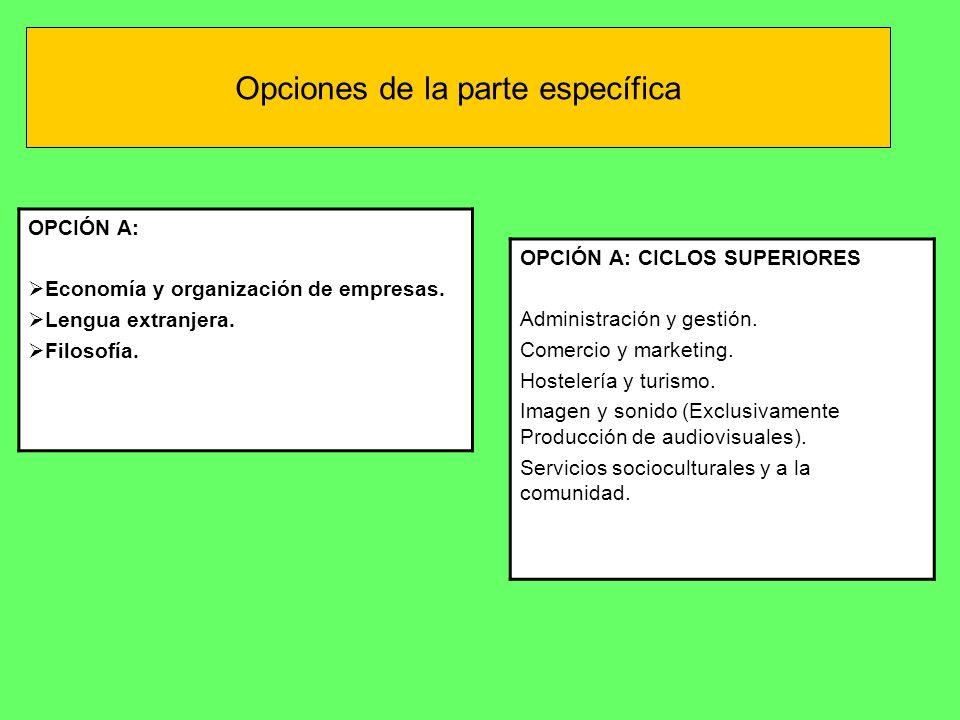Opciones de la parte específica OPCIÓN A: CICLOS SUPERIORES Administración y gestión. Comercio y marketing. Hostelería y turismo. Imagen y sonido (Exc