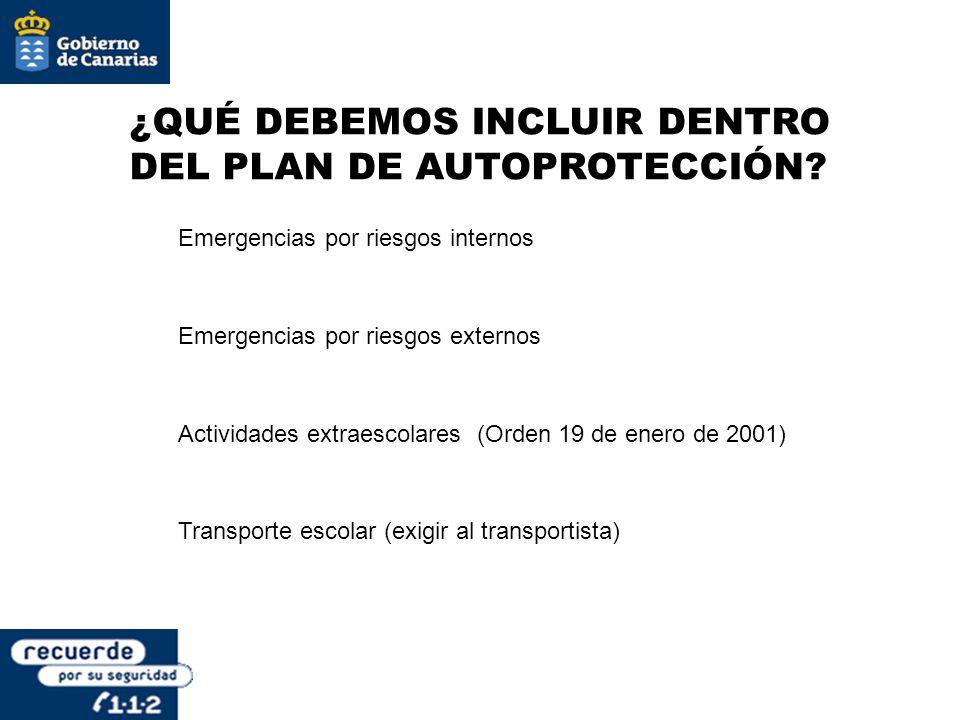 ¿QUÉ DEBEMOS INCLUIR DENTRO DEL PLAN DE AUTOPROTECCIÓN? Emergencias por riesgos internos Emergencias por riesgos externos Actividades extraescolares (
