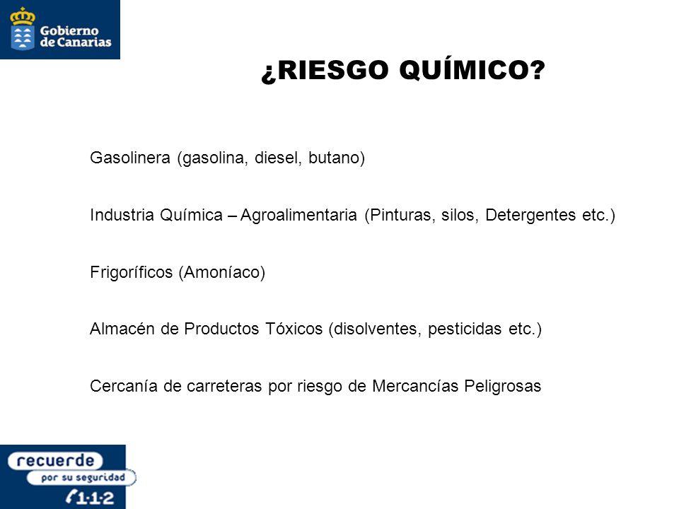 ¿RIESGO QUÍMICO? Gasolinera (gasolina, diesel, butano) Industria Química – Agroalimentaria (Pinturas, silos, Detergentes etc.) Frigoríficos (Amoníaco)
