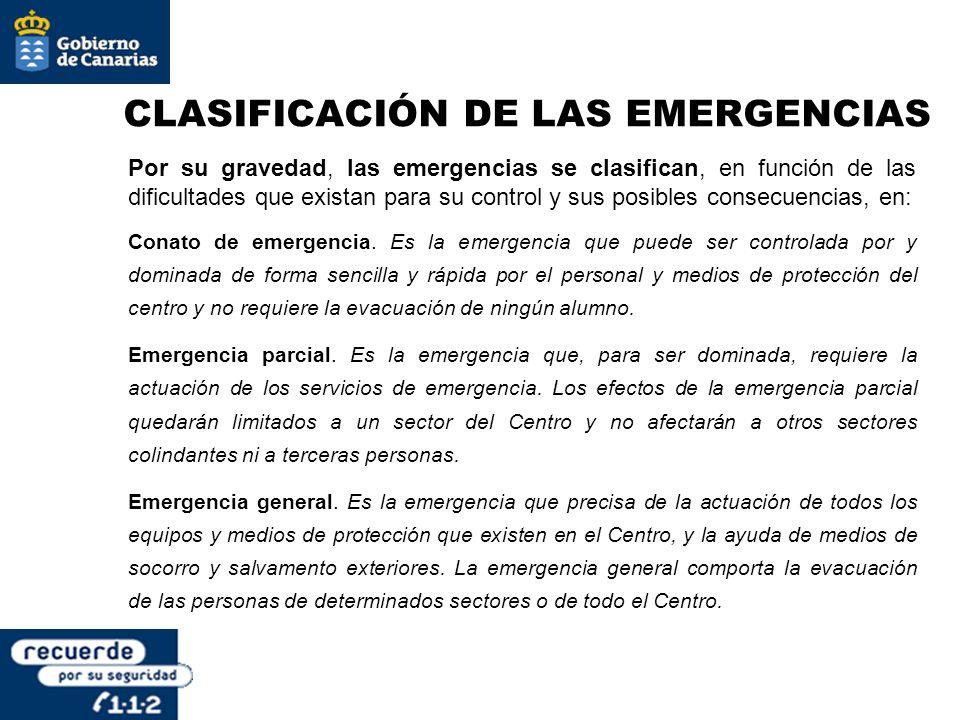 CLASIFICACIÓN DE LAS EMERGENCIAS Por su gravedad, las emergencias se clasifican, en función de las dificultades que existan para su control y sus posi