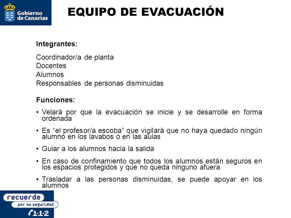EQUIPO DE EVACUACIÓN Integrantes: Coordinador/a de planta Docentes Alumnos Responsables de personas disminuidas Funciones: Velará por que la evacuació