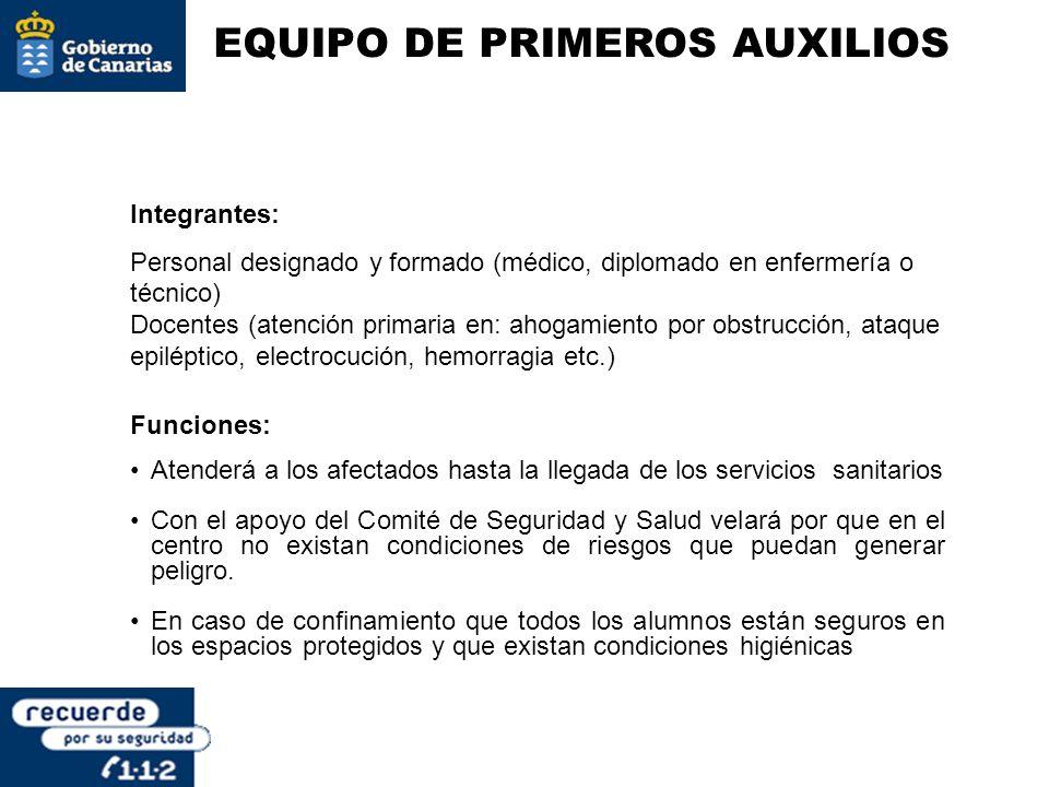 EQUIPO DE PRIMEROS AUXILIOS Integrantes: Personal designado y formado (médico, diplomado en enfermería o técnico) Docentes (atención primaria en: ahog