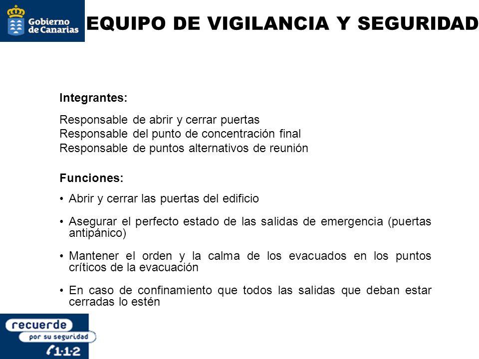 EQUIPO DE VIGILANCIA Y SEGURIDAD Integrantes: Responsable de abrir y cerrar puertas Responsable del punto de concentración final Responsable de puntos