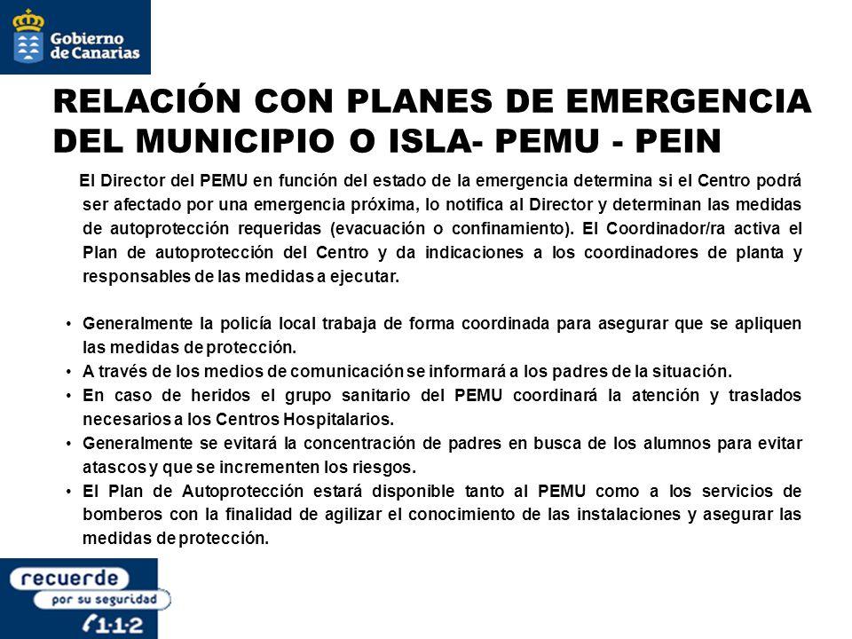 RELACIÓN CON PLANES DE EMERGENCIA DEL MUNICIPIO O ISLA- PEMU - PEIN El Director del PEMU en función del estado de la emergencia determina si el Centro