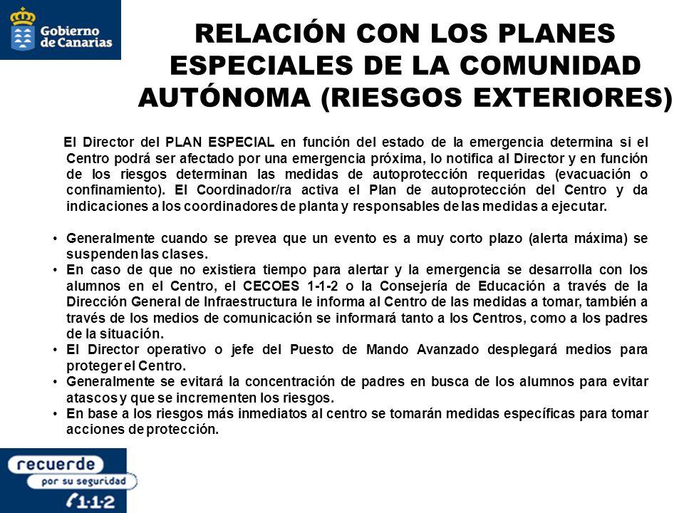 RELACIÓN CON LOS PLANES ESPECIALES DE LA COMUNIDAD AUTÓNOMA (RIESGOS EXTERIORES) El Director del PLAN ESPECIAL en función del estado de la emergencia