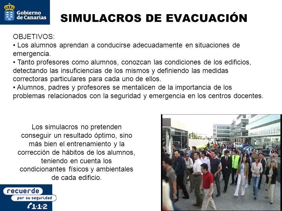 SIMULACROS DE EVACUACIÓN OBJETIVOS: Los alumnos aprendan a conducirse adecuadamente en situaciones de emergencia. Tanto profesores como alumnos, conoz