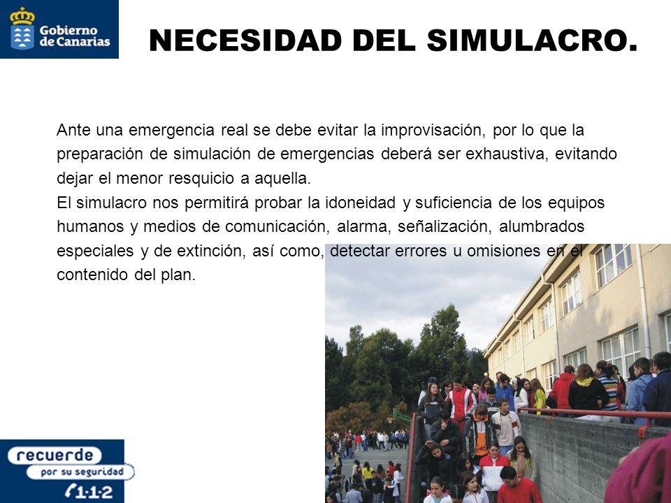 NECESIDAD DEL SIMULACRO. Ante una emergencia real se debe evitar la improvisación, por lo que la preparación de simulación de emergencias deberá ser e