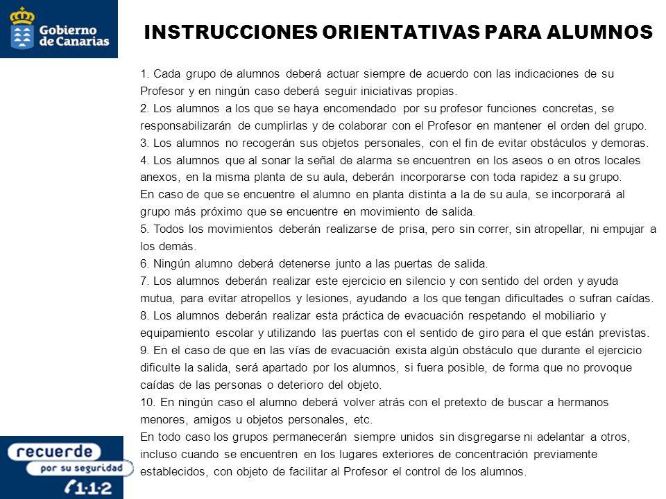 INSTRUCCIONES ORIENTATIVAS PARA ALUMNOS 1. Cada grupo de alumnos deberá actuar siempre de acuerdo con las indicaciones de su Profesor y en ningún caso
