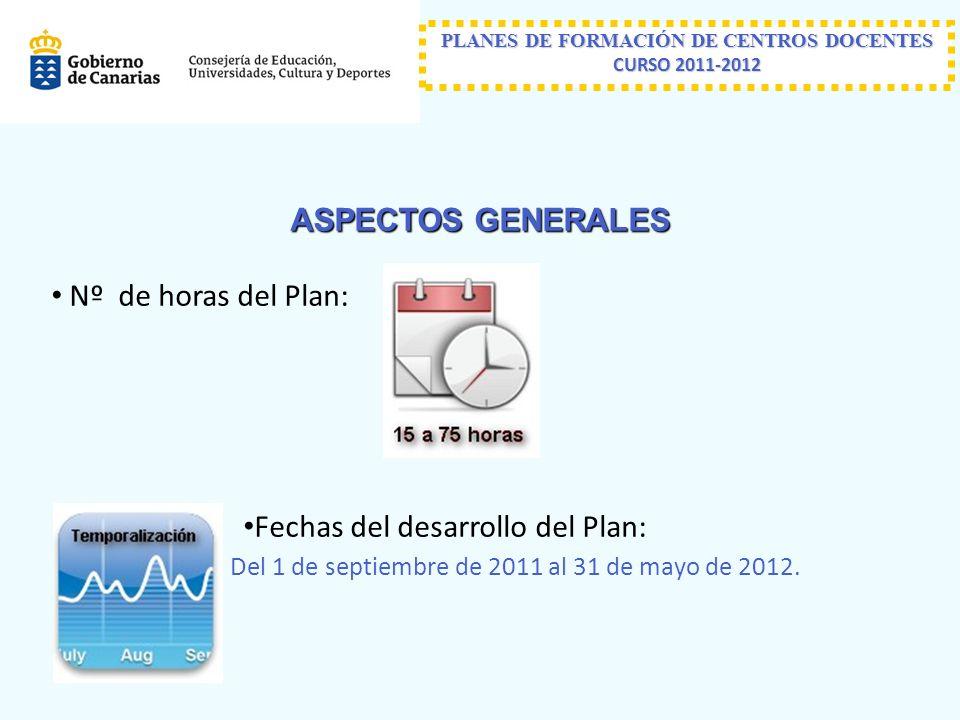 ASPECTOS GENERALES Nº de horas del Plan: Fechas del desarrollo del Plan: Del 1 de septiembre de 2011 al 31 de mayo de 2012.