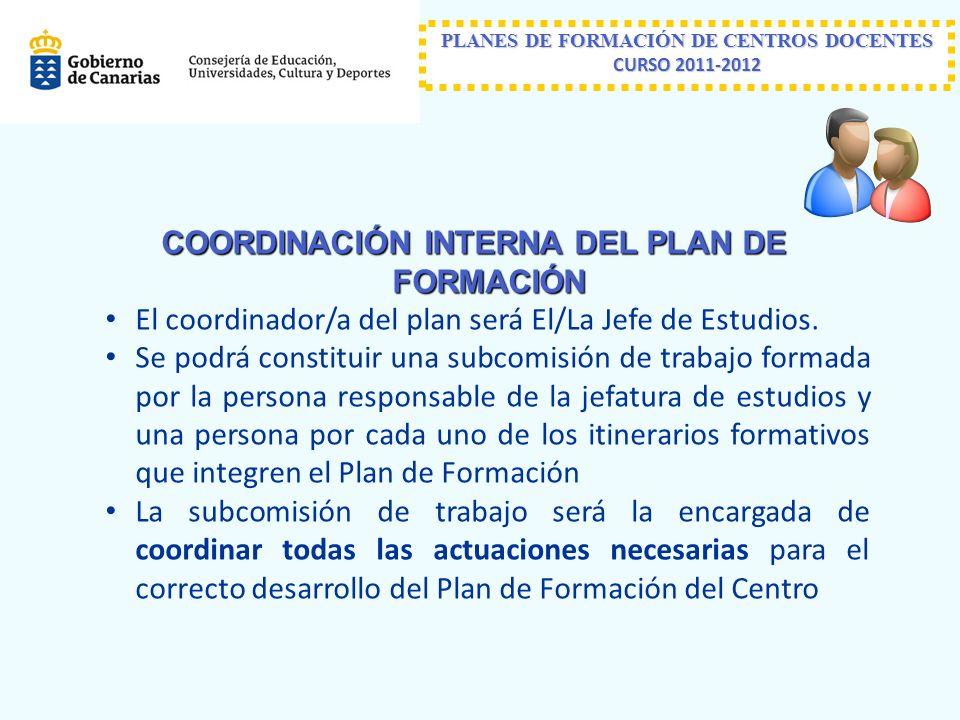PLANES DE FORMACIÓN DE CENTROS DOCENTES CURSO 2011-2012 COORDINACIÓN INTERNA DEL PLAN DE FORMACIÓN El coordinador/a del plan será El/La Jefe de Estudios.
