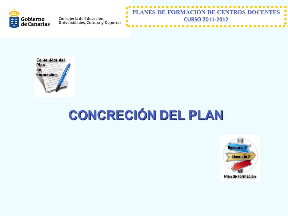 PLANES DE FORMACIÓN DE CENTROS DOCENTES CURSO 2011-2012 CONCRECIÓN DEL PLAN