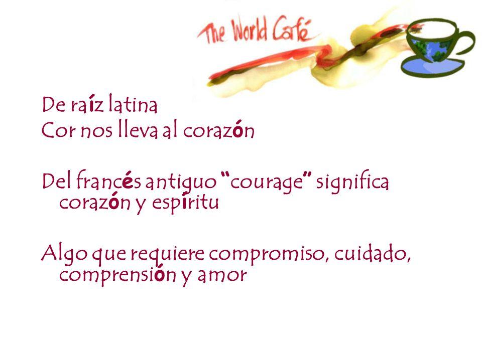 De ra í z latina Cor nos lleva al coraz ó n Del franc é s antiguo courage significa coraz ó n y esp í ritu Algo que requiere compromiso, cuidado, comp