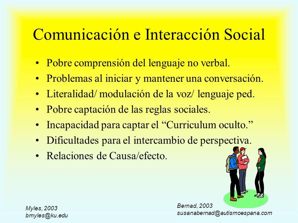 Myles, 2003 bmyles@ku.edu Comunicación e Interacción Social Pobre comprensión del lenguaje no verbal. Problemas al iniciar y mantener una conversación