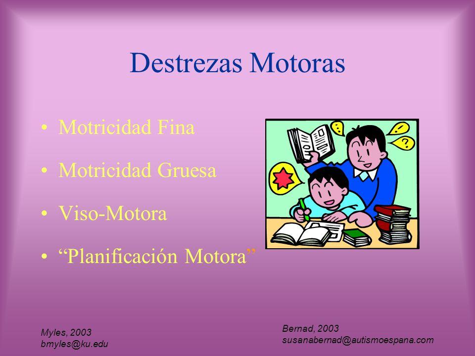 Myles, 2003 bmyles@ku.edu Destrezas Motoras Motricidad Fina Motricidad Gruesa Viso-Motora Planificación Motora Bernad, 2003 susanabernad@autismoespana