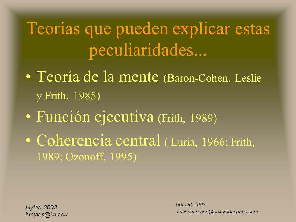 Myles, 2003 bmyles@ku.edu Teorías que pueden explicar estas peculiaridades... Teoría de la mente (Baron-Cohen, Leslie y Frith, 1985) Función ejecutiva