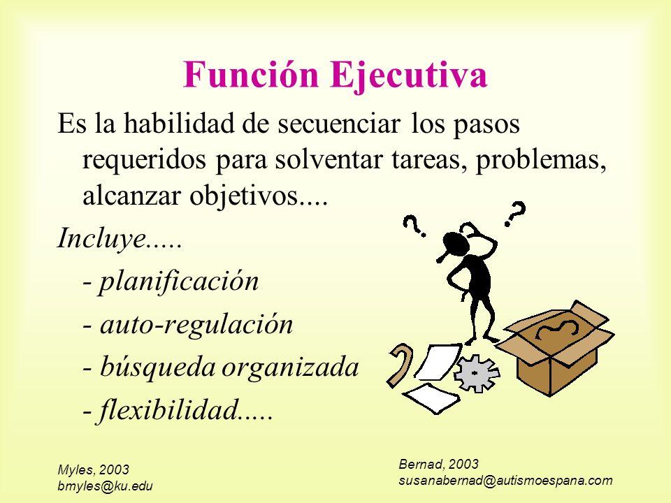 Myles, 2003 bmyles@ku.edu Función Ejecutiva Es la habilidad de secuenciar los pasos requeridos para solventar tareas, problemas, alcanzar objetivos...