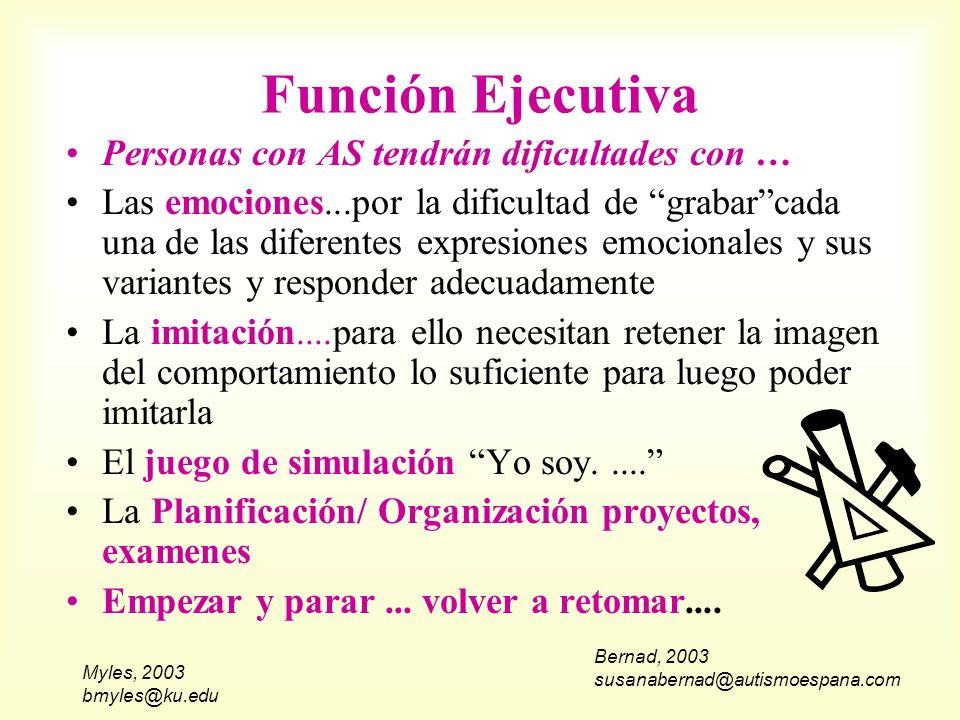Myles, 2003 bmyles@ku.edu Función Ejecutiva Personas con AS tendrán dificultades con … Las emociones...por la dificultad de grabarcada una de las dife