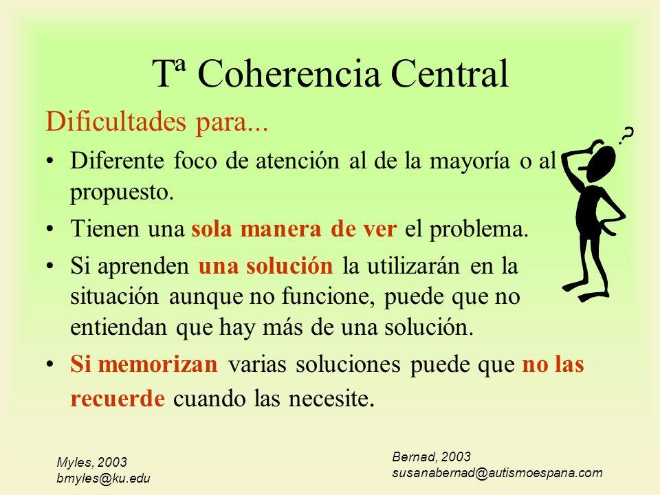 Myles, 2003 bmyles@ku.edu Tª Coherencia Central Dificultades para... Diferente foco de atención al de la mayoría o al propuesto. Tienen una sola maner