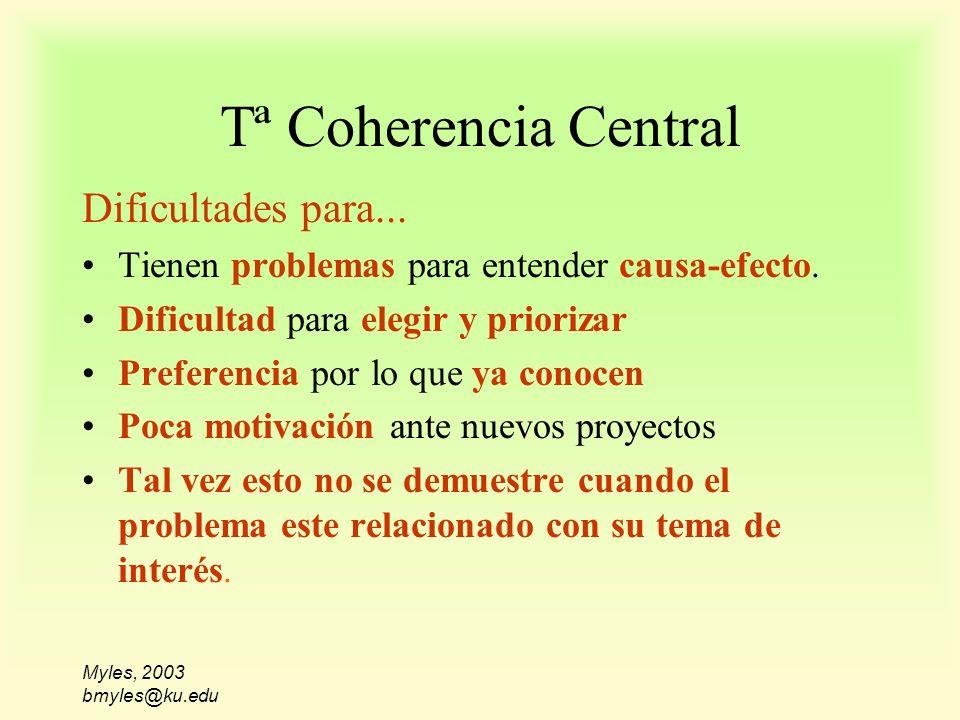 Myles, 2003 bmyles@ku.edu Tª Coherencia Central Dificultades para... Tienen problemas para entender causa-efecto. Dificultad para elegir y priorizar P