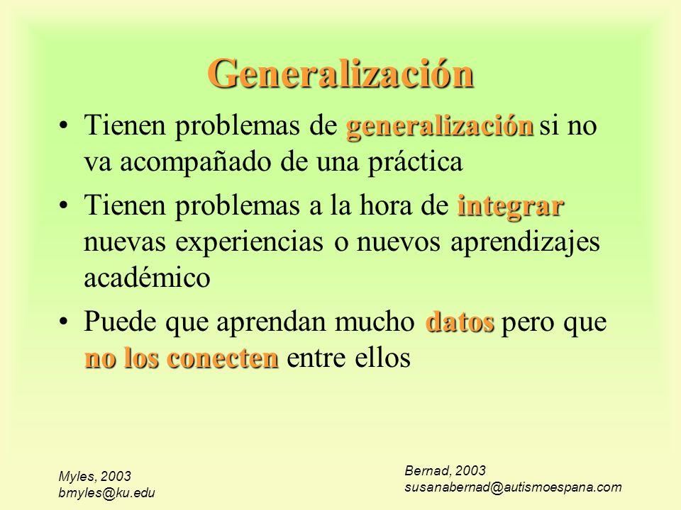 Myles, 2003 bmyles@ku.edu Generalización Bernad, 2003 susanabernad@autismoespana.com