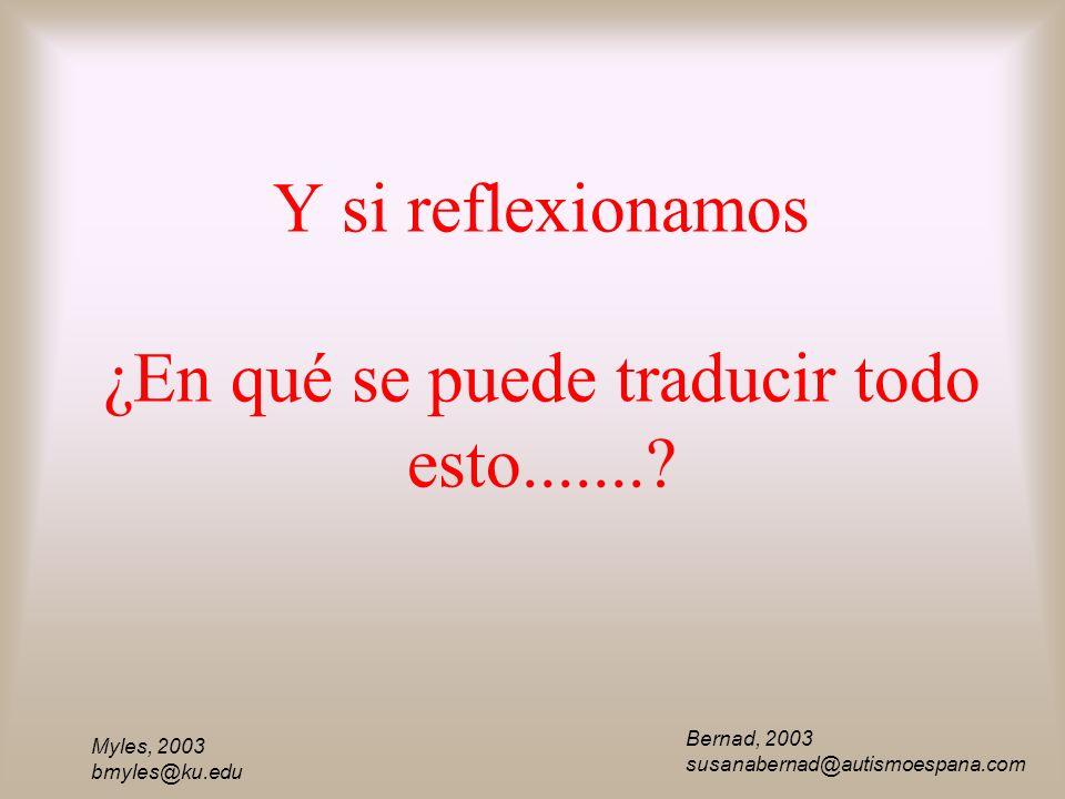 Myles, 2003 bmyles@ku.edu Y si reflexionamos ¿En qué se puede traducir todo esto.......? Bernad, 2003 susanabernad@autismoespana.com