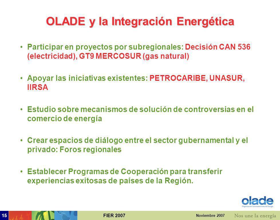 FIER 200714 Noviembre 2007 4. Enfoque de OLADE ante la integración energética
