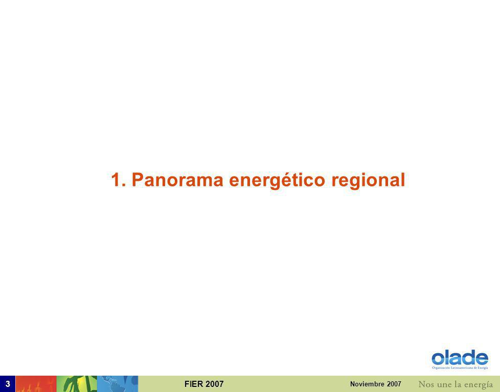 FIER 200713 Noviembre 2007 Comercio exterior neto de energía primaria Exportador neto Importador neto Nota: Cono Sur incluye Bolivia Año 2006