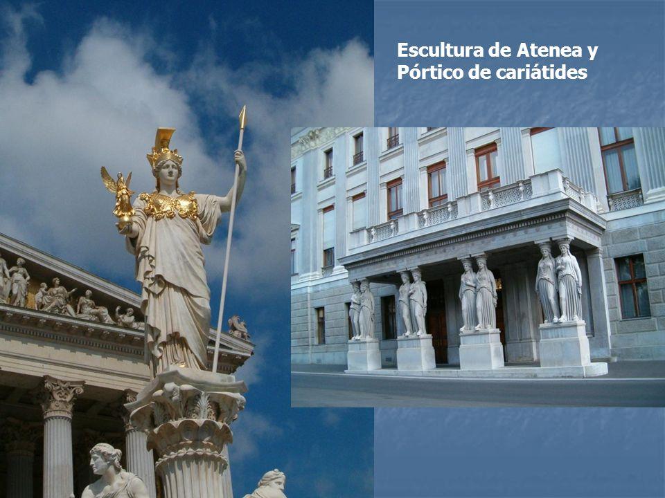Escultura de Atenea y Pórtico de cariátides