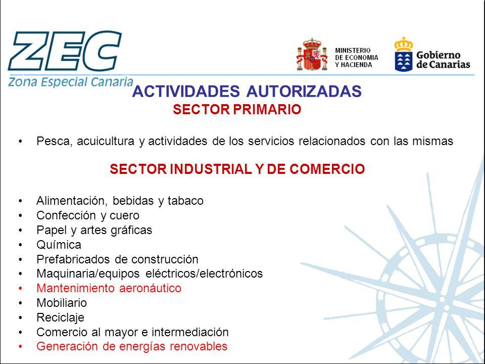 ACTIVIDADES AUTORIZADAS SECTOR PRIMARIO Pesca, acuicultura y actividades de los servicios relacionados con las mismas SECTOR INDUSTRIAL Y DE COMERCIO