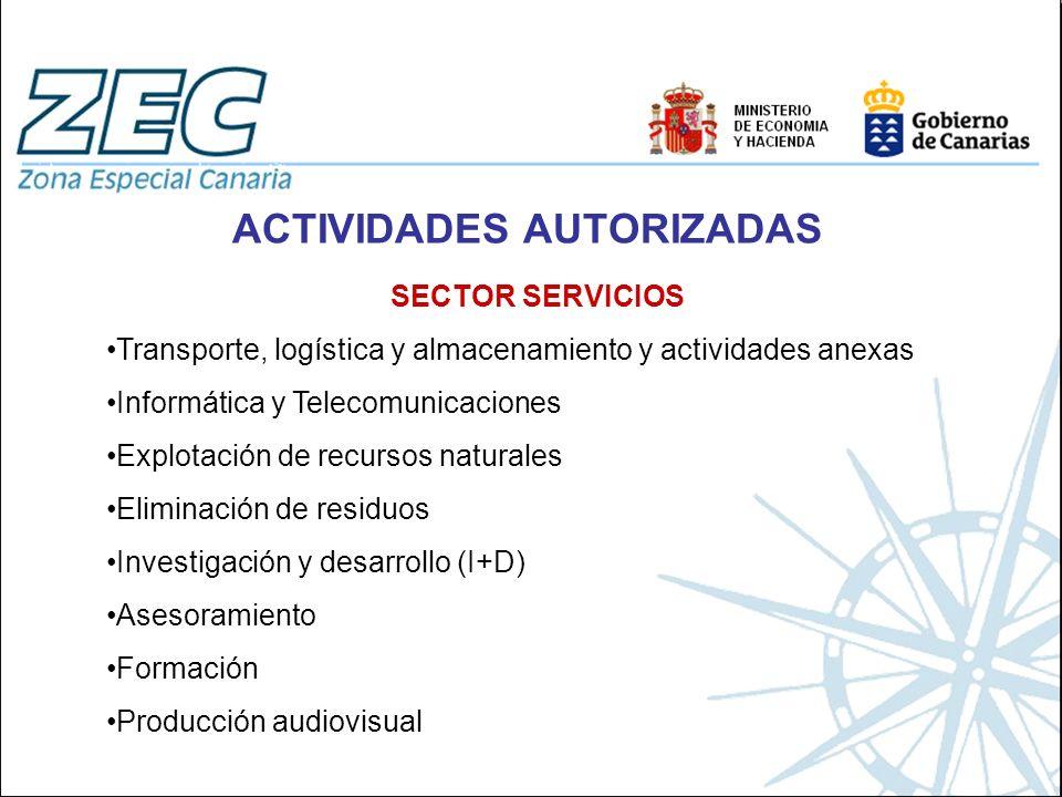 ACTIVIDADES AUTORIZADAS SECTOR SERVICIOS Transporte, logística y almacenamiento y actividades anexas Informática y Telecomunicaciones Explotación de r