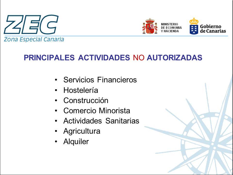 PRINCIPALES ACTIVIDADES NO AUTORIZADAS Servicios Financieros Hostelería Construcción Comercio Minorista Actividades Sanitarias Agricultura Alquiler