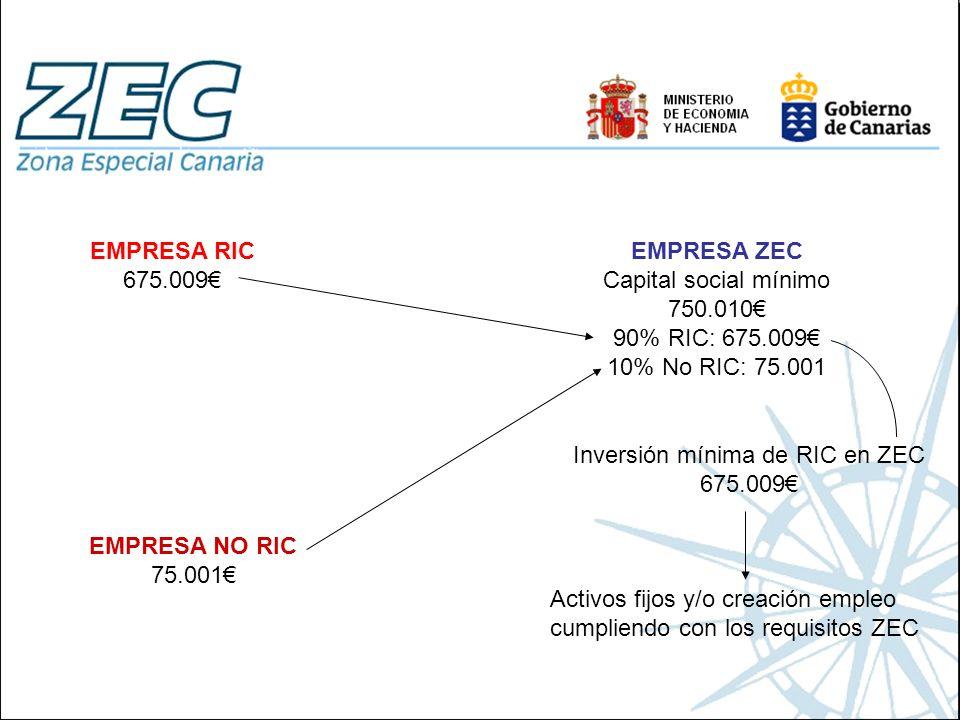 EMPRESA RIC 675.009 EMPRESA ZEC Capital social mínimo 750.010 90% RIC: 675.009 10% No RIC: 75.001 Inversión mínima de RIC en ZEC 675.009 Activos fijos