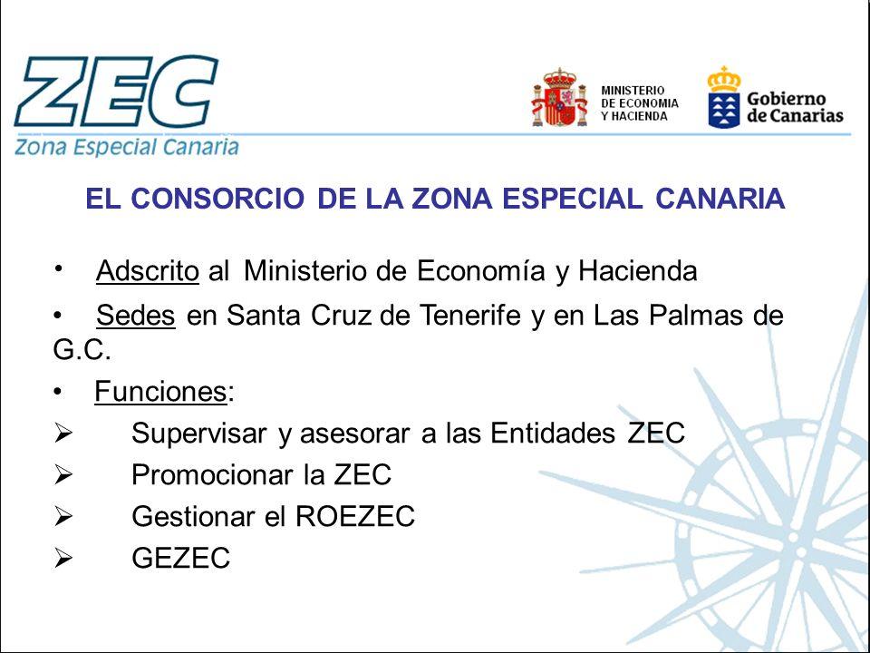 EL CONSORCIO DE LA ZONA ESPECIAL CANARIA Adscrito al Ministerio de Economía y Hacienda Sedes en Santa Cruz de Tenerife y en Las Palmas de G.C. Funcion