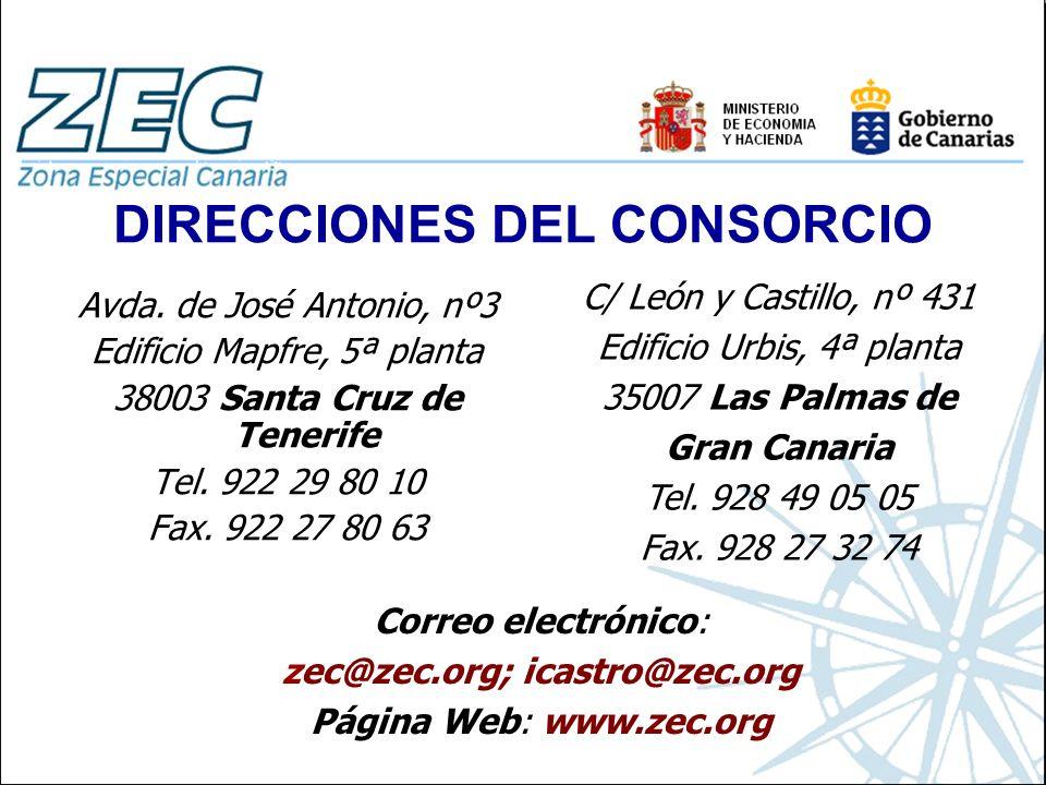 DIRECCIONES DEL CONSORCIO Avda. de José Antonio, nº3 Edificio Mapfre, 5ª planta 38003 Santa Cruz de Tenerife Tel. 922 29 80 10 Fax. 922 27 80 63 C/ Le