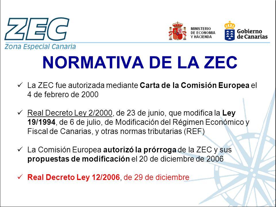 NORMATIVA DE LA ZEC La ZEC fue autorizada mediante Carta de la Comisión Europea el 4 de febrero de 2000 Real Decreto Ley 2/2000, de 23 de junio, que m