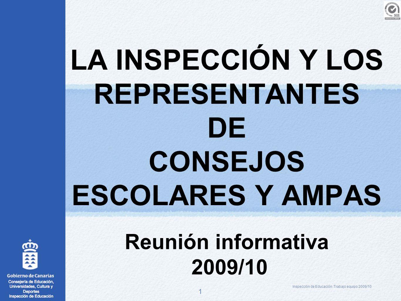 1 LA INSPECCIÓN Y LOS REPRESENTANTES DE CONSEJOS ESCOLARES Y AMPAS Reunión informativa 2009/10 Inspección de Educación :Trabajo equipo 2009/10