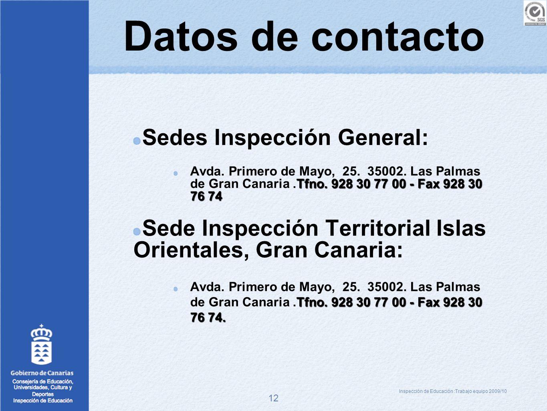 12 Datos de contacto Sedes Inspección General: Tfno. 928 30 77 00 - Fax 928 30 76 74 Avda. Primero de Mayo, 25. 35002. Las Palmas de Gran Canaria.Tfno