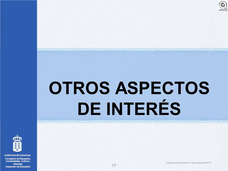 17 OTROS ASPECTOS DE INTERÉS Inspección de Educación :Trabajo equipo 2009/10