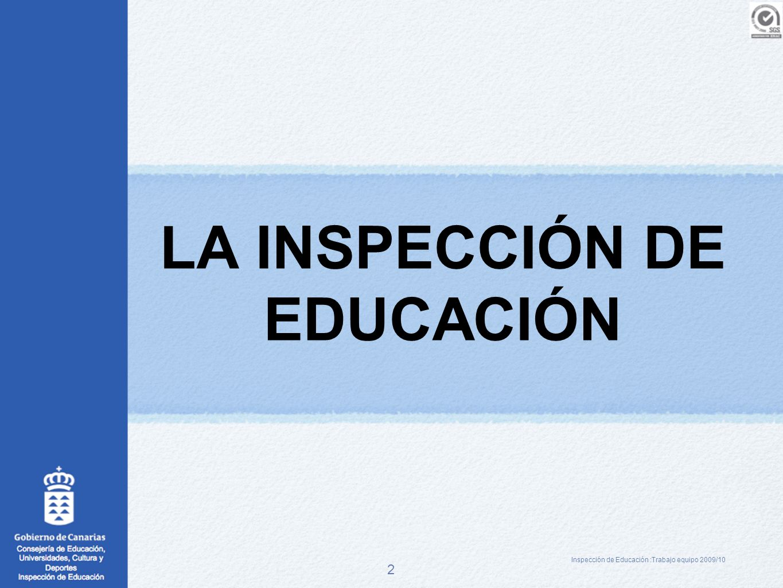 2 LA INSPECCIÓN DE EDUCACIÓN Inspección de Educación :Trabajo equipo 2009/10
