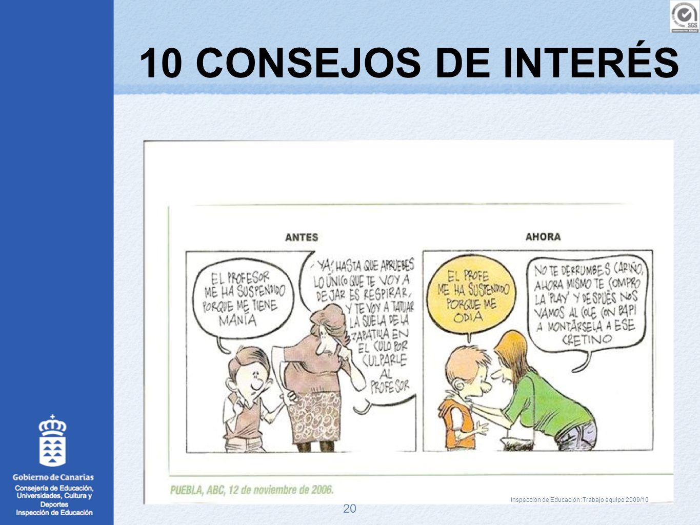 20 10 CONSEJOS DE INTERÉS Inspección de Educación :Trabajo equipo 2009/10