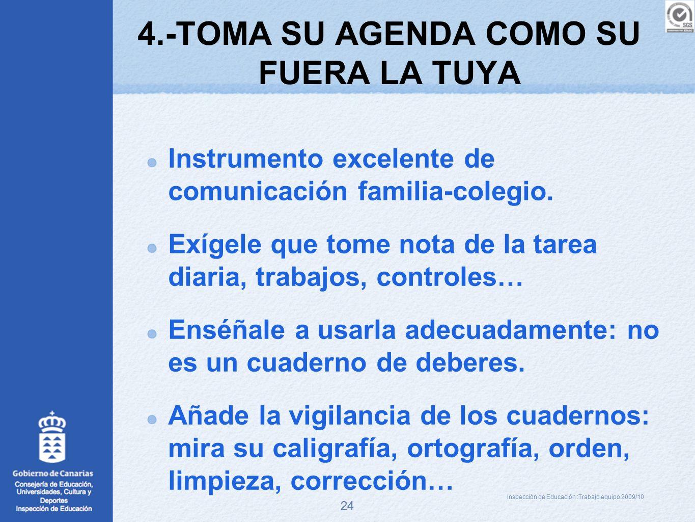 24 4.-TOMA SU AGENDA COMO SU FUERA LA TUYA Instrumento excelente de comunicación familia-colegio. Exígele que tome nota de la tarea diaria, trabajos,