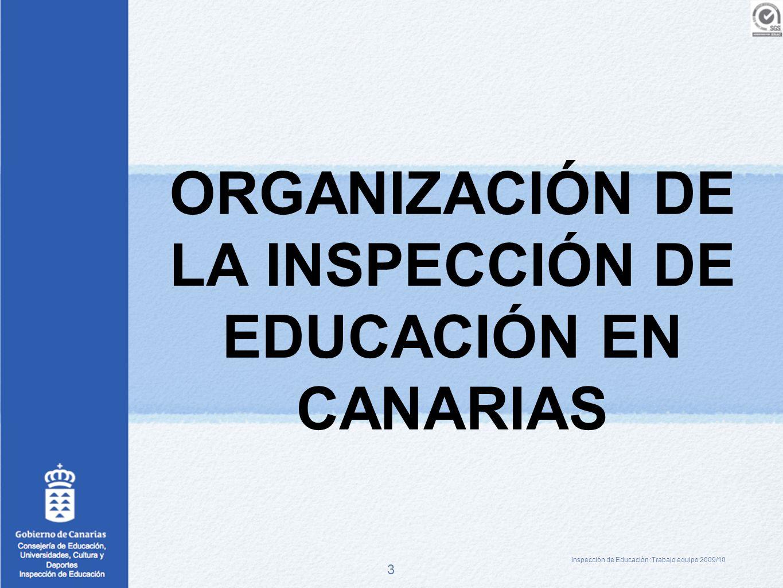 3 ORGANIZACIÓN DE LA INSPECCIÓN DE EDUCACIÓN EN CANARIAS Inspección de Educación :Trabajo equipo 2009/10