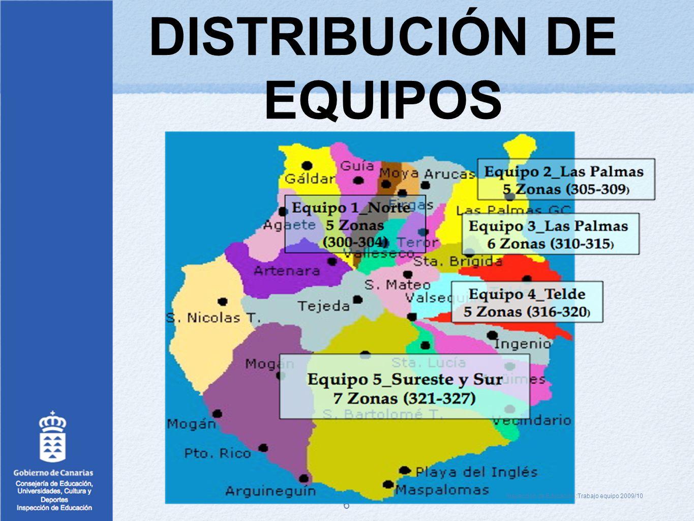 6 DISTRIBUCIÓN DE EQUIPOS Inspección de Educación :Trabajo equipo 2009/10