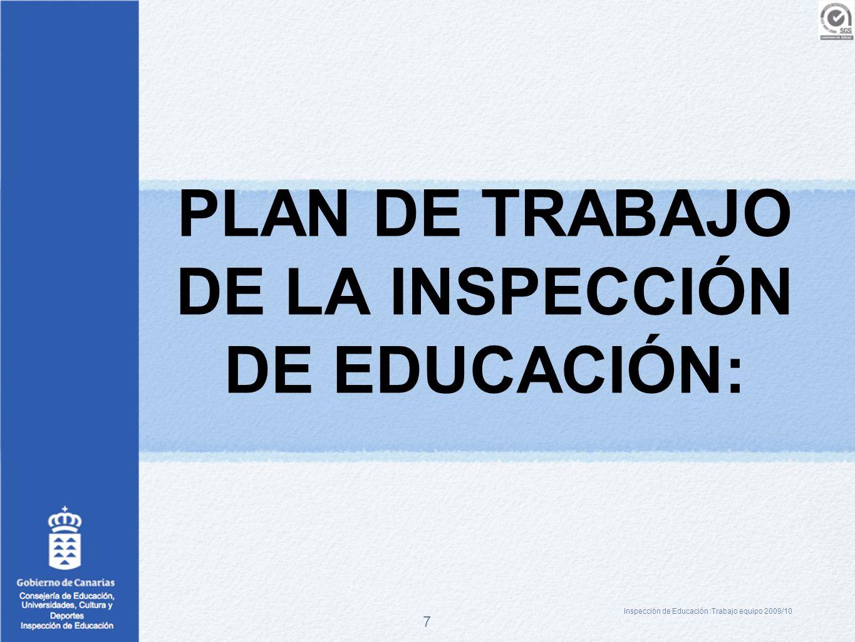 7 PLAN DE TRABAJO DE LA INSPECCIÓN DE EDUCACIÓN: Inspección de Educación :Trabajo equipo 2009/10