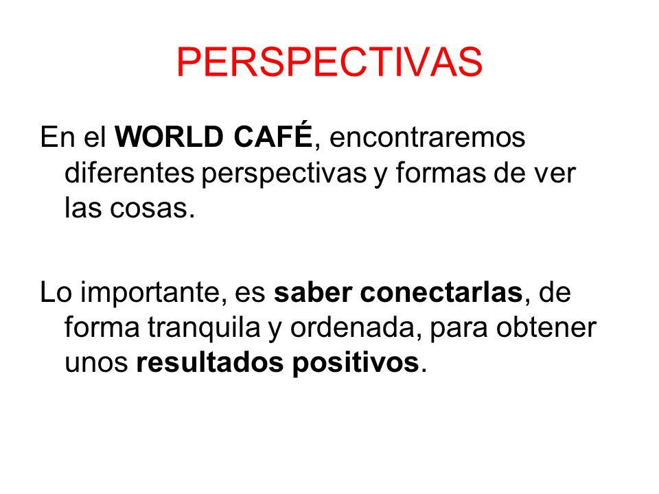 En el WORLD CAFÉ, encontraremos diferentes perspectivas y formas de ver las cosas. Lo importante, es saber conectarlas, de forma tranquila y ordenada,