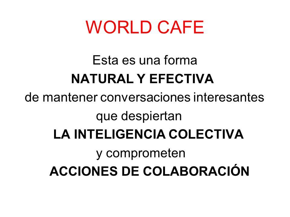 WORLD CAFE Esta es una forma NATURAL Y EFECTIVA de mantener conversaciones interesantes que despiertan LA INTELIGENCIA COLECTIVA y comprometen ACCIONE