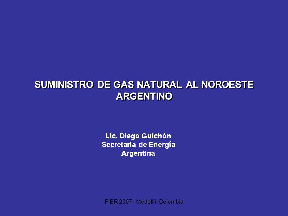 FIER 2007 - Medellín Colombia SUMINISTRO DE GAS NATURAL AL NOROESTE ARGENTINO Lic. Diego Guichón Secretaria de Energía Argentina