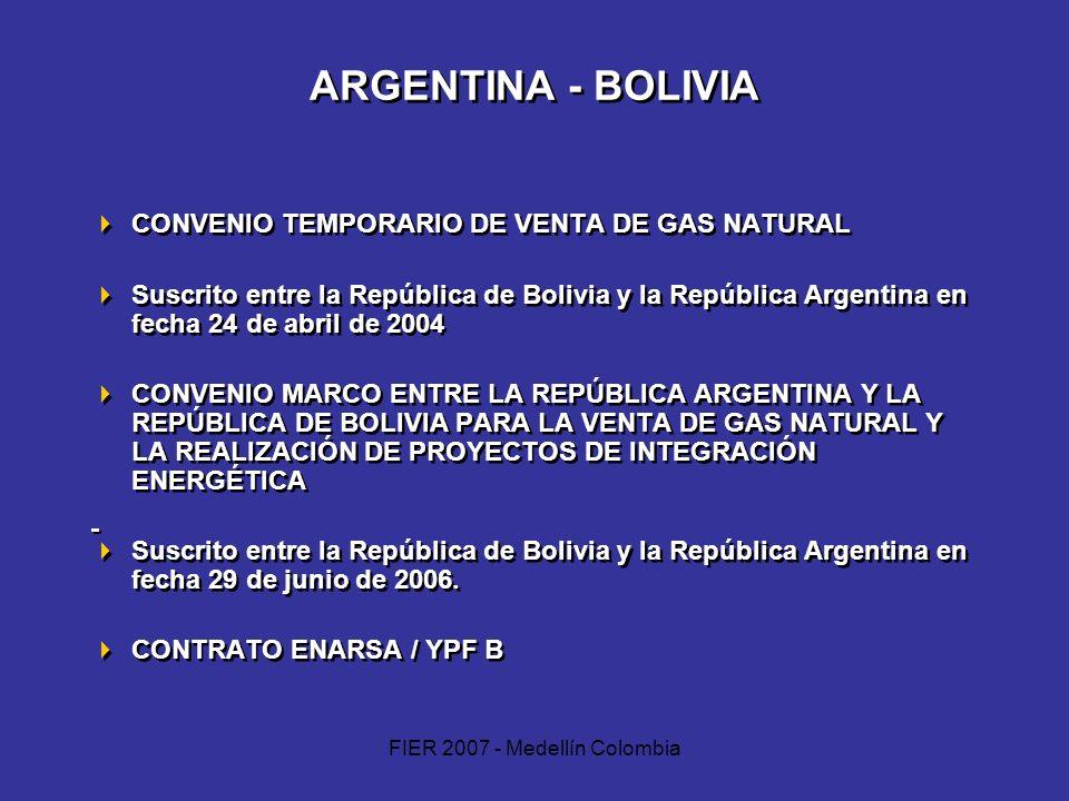 FIER 2007 - Medellín Colombia ARGENTINA - BOLIVIA CONVENIO TEMPORARIO DE VENTA DE GAS NATURAL Suscrito entre la República de Bolivia y la República Ar